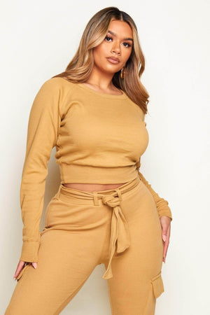 Camel Ribbed Basic Crop Sweatshirt