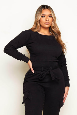 Black Ribbed Basic Crop Sweatshirt