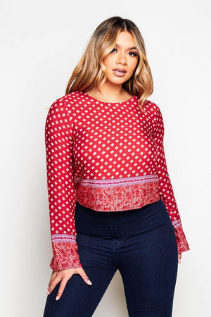 Red Printed Boho Blouse