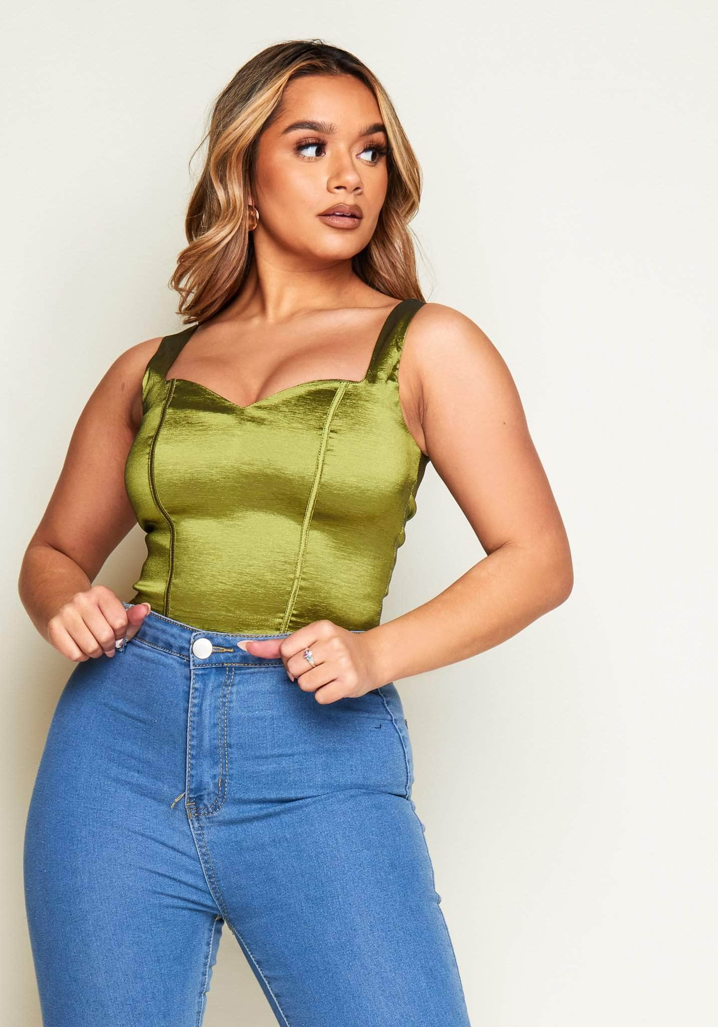 Green Taffeta Silk Corset Crop Top