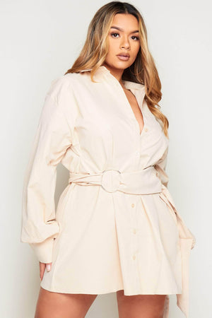 Nude Oversized Belted Shirt Dress