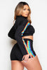 Black Rainbow Stripe Cropped Polo Top