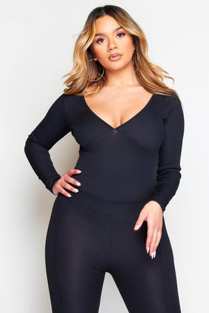 Black Ribbed Long Sleeve Bodysuit