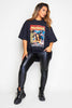 Plus+ Black Oversized Women Printed T.Shirt
