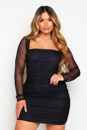 Black Square Neck Mesh Ruched Bodycon Dress