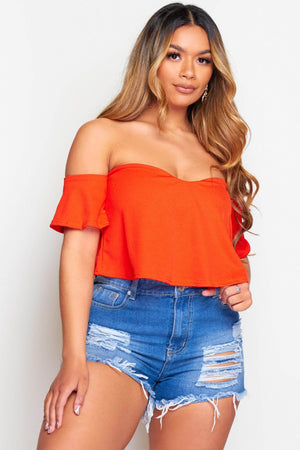 Red Bardot Crop Top