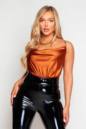 Rust Satin Bodysuit with Buckle Strap Detail
