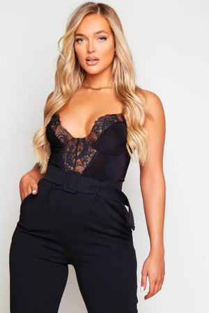 Black Slinky Lace Trim Bodysuit