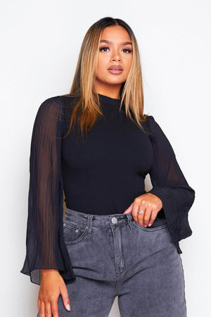 Black Scuba Bodysuit with Sheer Pleated Sleeves