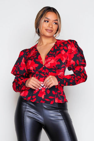 Black & Red Floral Puff Sleeve Blouse