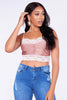Mink & White Lace Ruched Slinky Crop Top