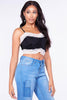 Black & White Lace Ruched Slinky Crop Top