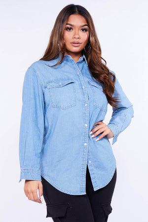 Light Wash Oversize Denim Shirt