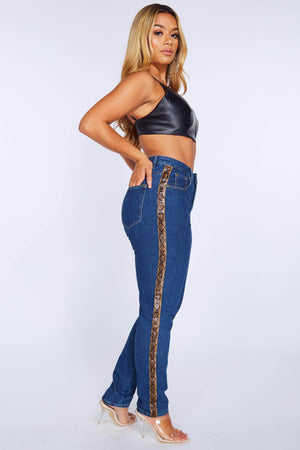 Snake Pu Stripe Denim Mom Jeans