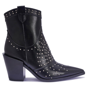 Black Pu Western Ankle Boots with Stud Embellishment