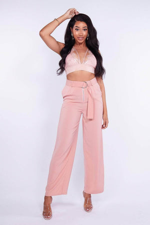 Pink Wide Leg Belted Trousers