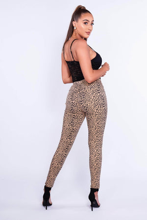 Leopard Printed High Waist Skinny Jeans