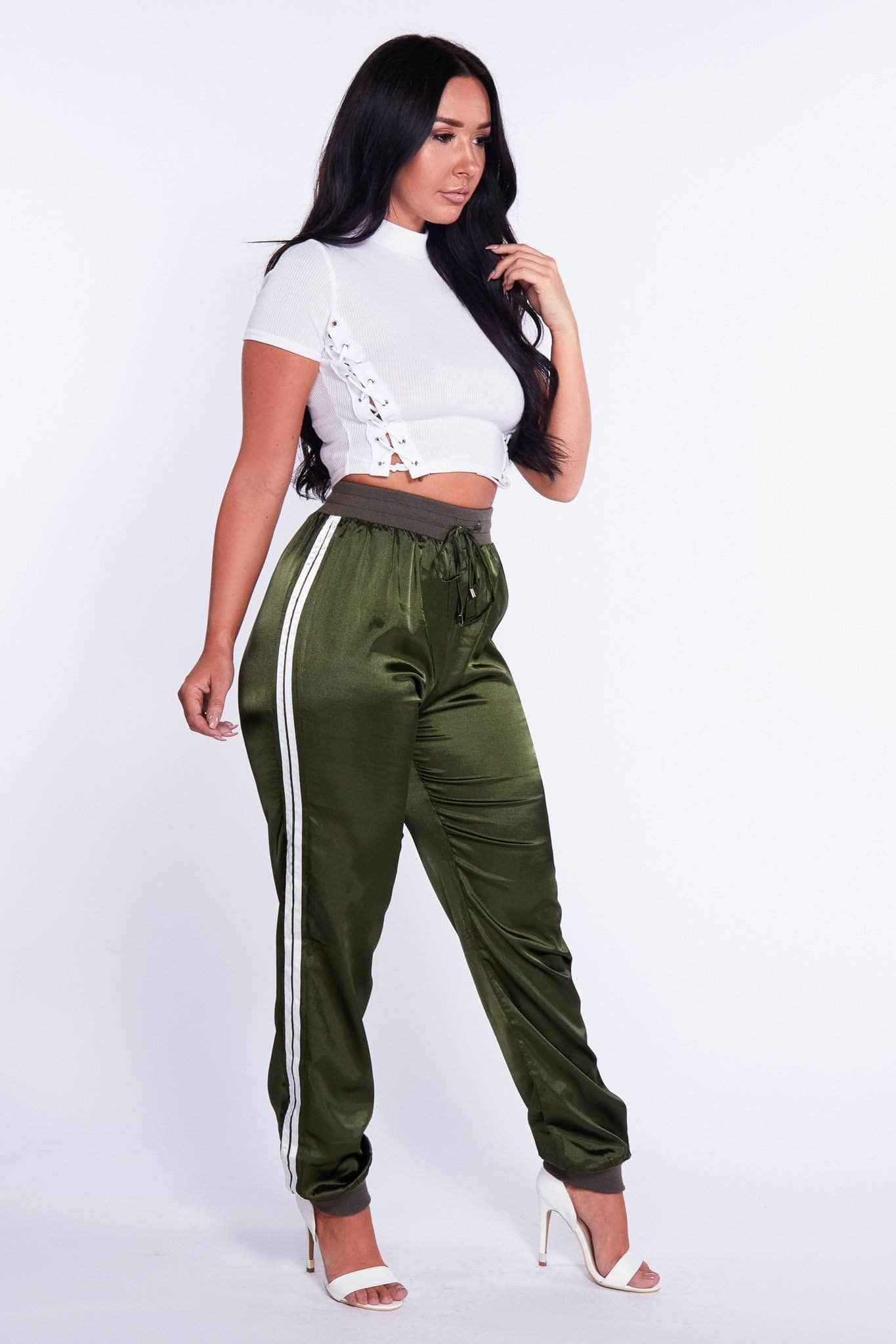 Green Silk Side Stripe Joggers