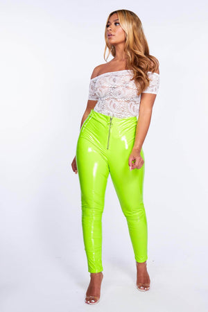 Neon Green Vinyl Zip High Waist Trousers