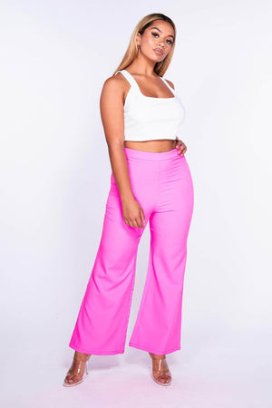 Neon Pink High Waist Wide Trousers