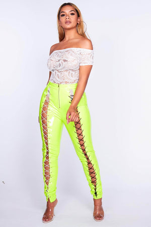 Neon Green Vinyl Lace Up Trousers