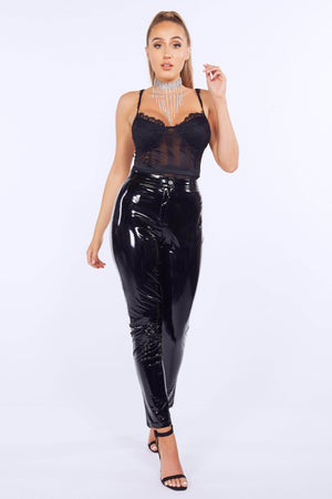 Black PVC Vinyl Trousers
