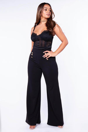 Black Wide Leg Trousers with Gold Button Detail