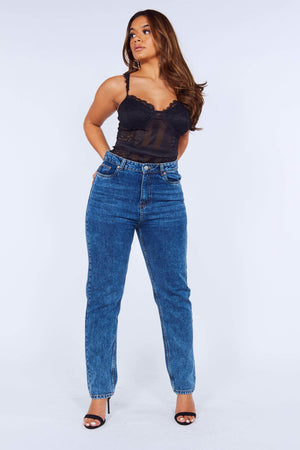 Mid Wash Casual Denim Mom Jeans