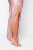 Pink Pleated Split Wide Leg Trousers