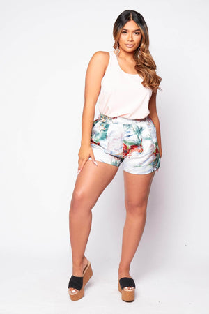 Satin Palm Print Wide Shorts