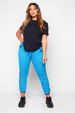 Blue Basic Side Stripe Joggers
