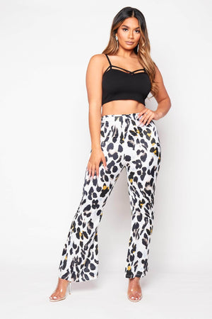 Satin Leopard Print Wide High Waist Trousers