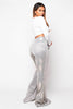 Plus+ Silver Glitter Metallic Flare Trousers