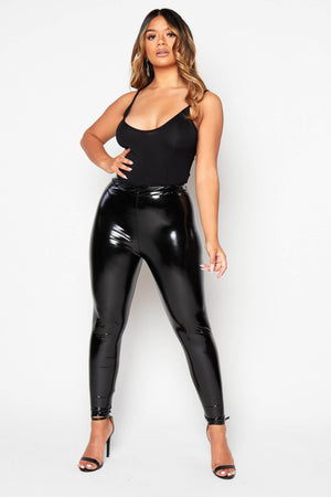 Black Basic PVC Trousers