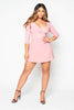 Pink Ribbed Wrap Mini Dress