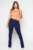 Navy Ribbed Flare Trousers
