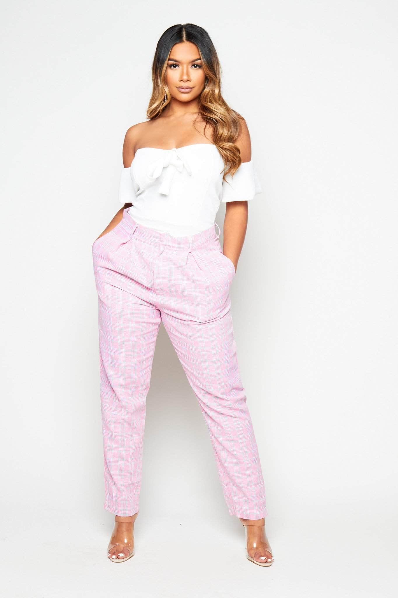 Pink Checked High Waist Trousers