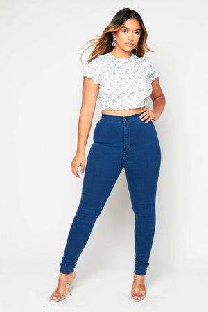 Blue High Wasit Super Stretch Skinny Jeans
