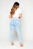 Light Blue Washed High Waist Knee Rip Jeans