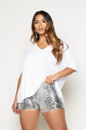 Silver Sequin Stretch Shorts