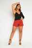 Rust Frilly Hem Shorts
