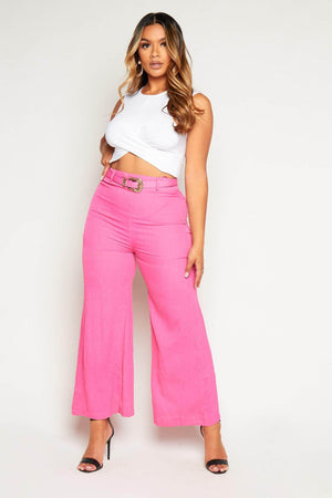 Neon Pink Crinkle Belted Wide Leg Trousers