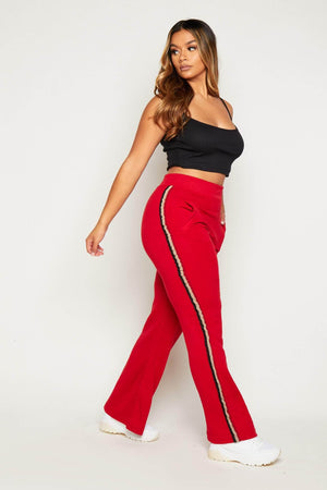 Red 3 Stripe Wide Leg Joggers