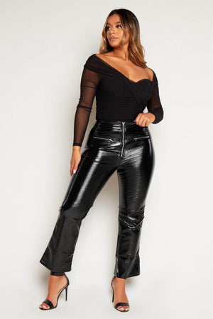 Black Cracked Vinyl Zip Up Flare Trousers