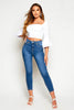 Blue Denim Skinny Jeans with Silver Chain Detail