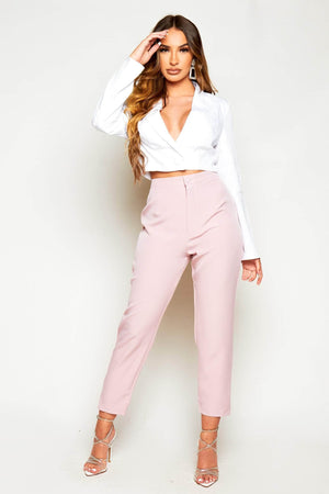 Pink Basic Cigarette Trousers