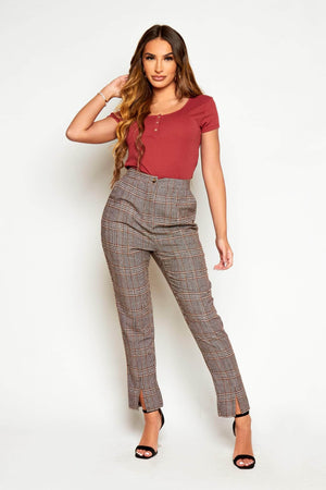 Brown Dogtooth Tailored Cigarette Trousers