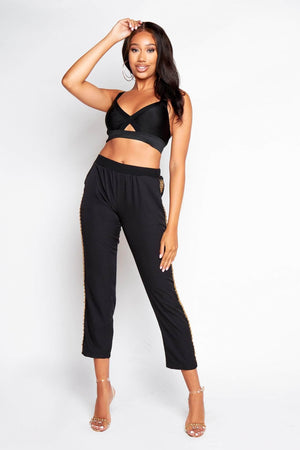 Black Trousers with Gold Chain Detailing
