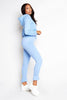 Light Blue Soft Jersey Ruffle Hem Joggers