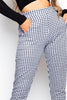 Black Gingham Straight Leg Trousers